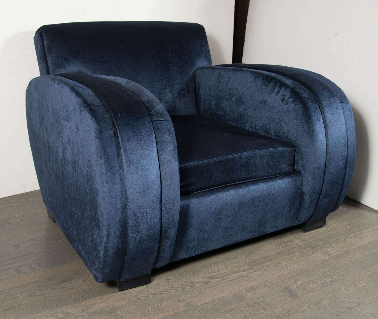 Art Deco Streamlined Club Chair in Sapphire Blue Velvet Upholstery 3