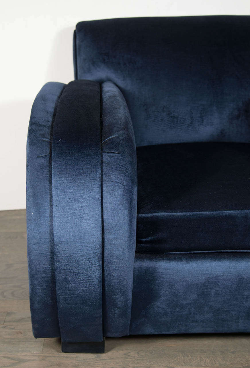 Art Deco Streamlined Club Chair in Sapphire Blue Velvet Upholstery 4