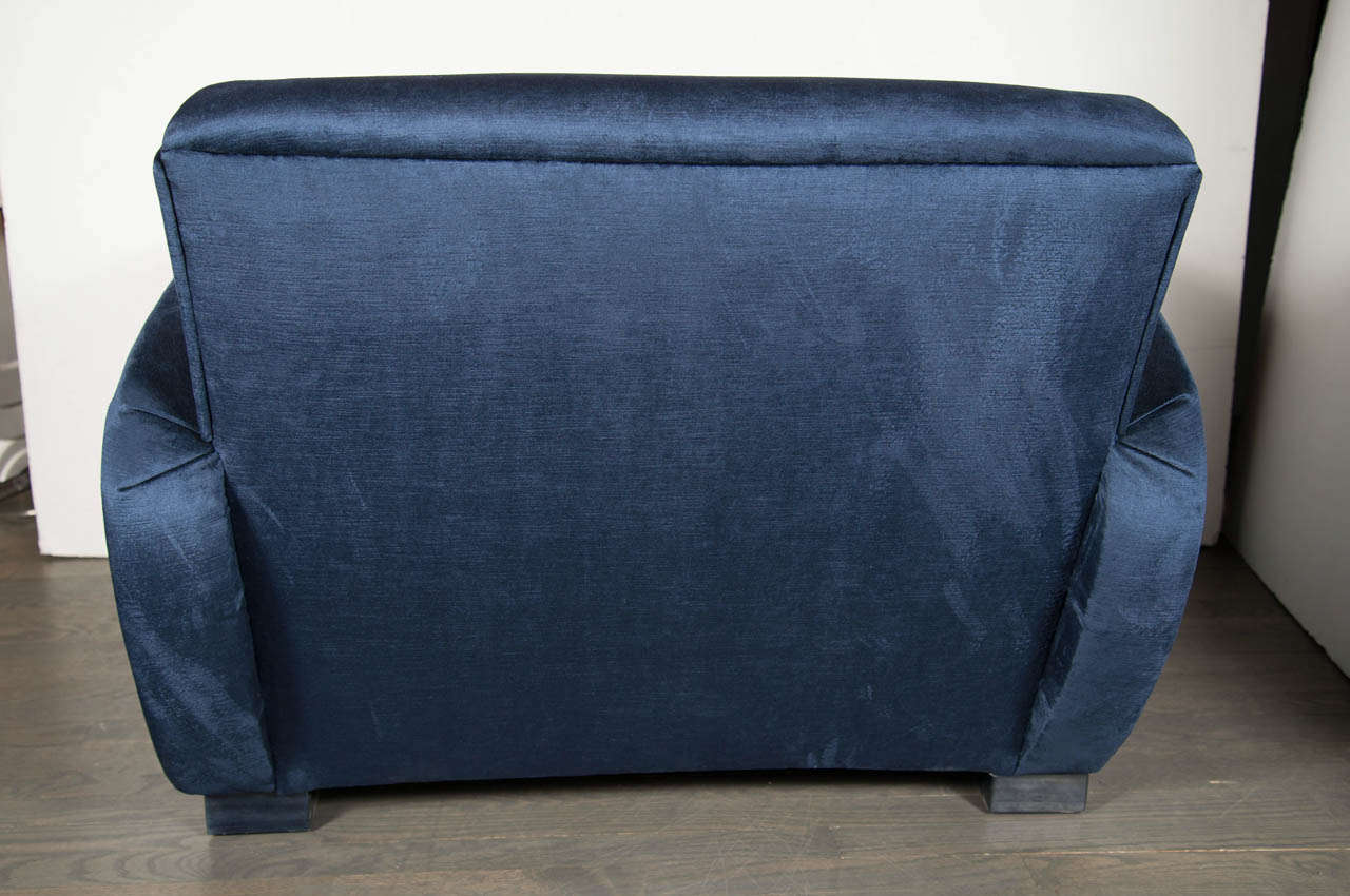 Art Deco Streamlined Club Chair in Sapphire Blue Velvet Upholstery 6