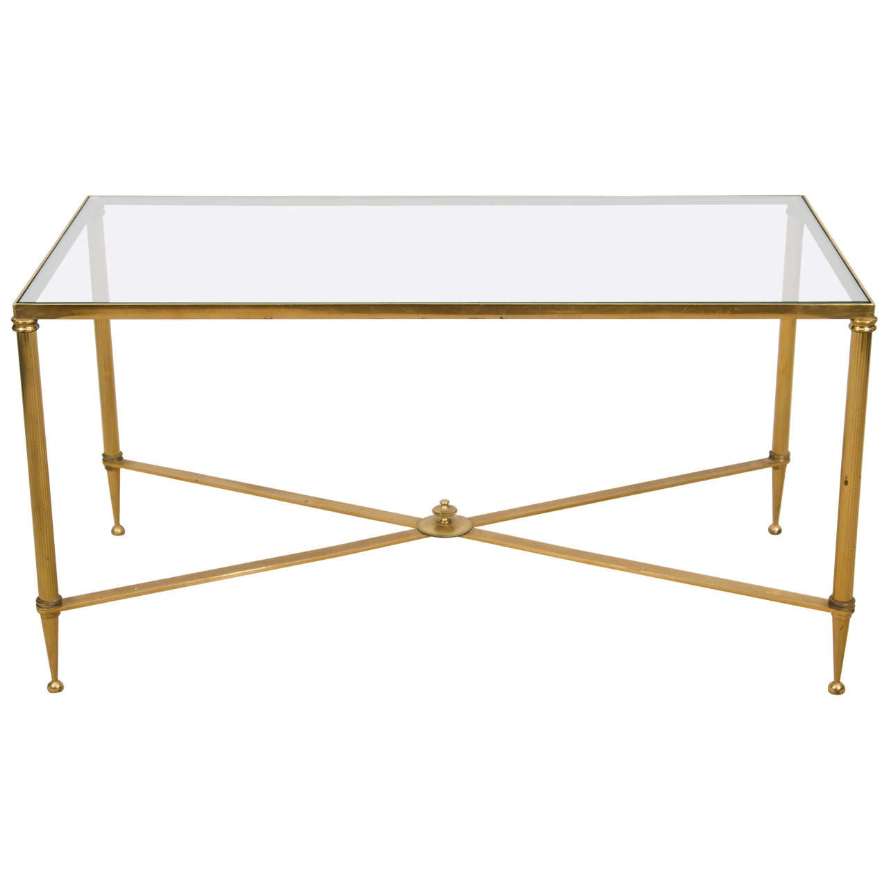 Vintage Brass And Glass X Base Coffee Or Cocktail Table At 1stdibs