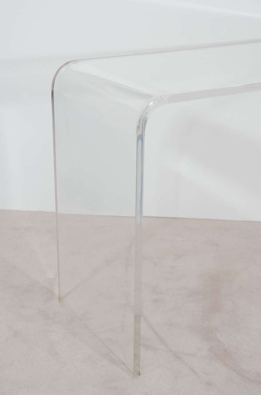 Late 20th Century Vintage Modern Waterfall Lucite Console Table, 1970s For Sale