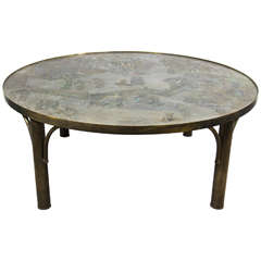 "Mid-Century Philip & Kelvin Laverne Round ""Tao"" Coffee or Cocktail Table"