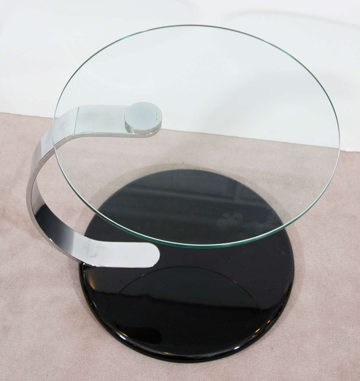 1980s Pair Of Circular Glass And Chrome Side Or End Tables