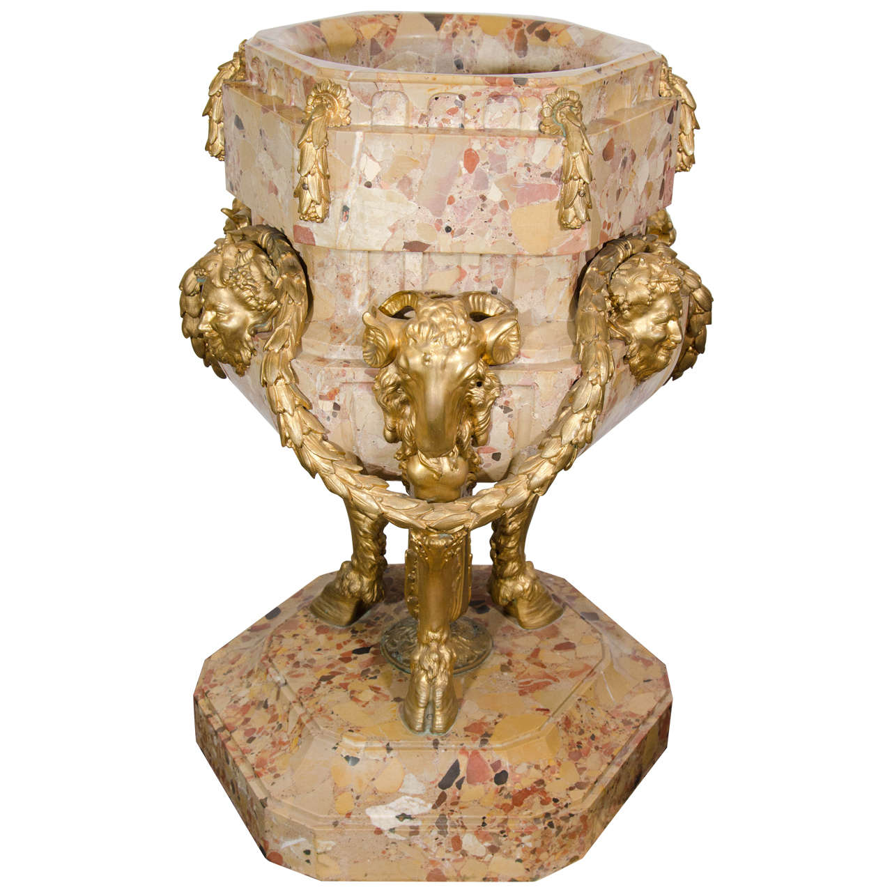 Antique Gilt Bronze Mounted Breche D'Alep Marble Jardiniere