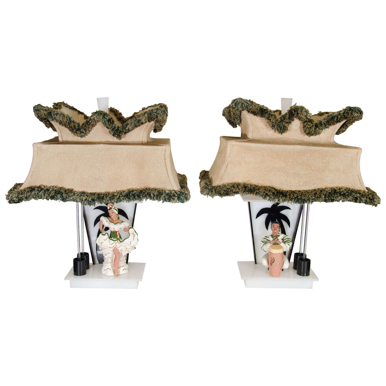 Amazing Pair Of Rare Moss Lamps With Ceramic Figures Of Conga Player And Dancer At 1stdibs