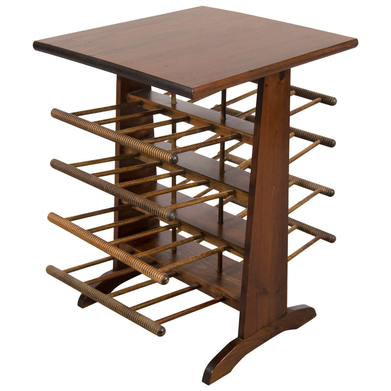 Midcentury Wooden Magazine Rack Or Stand With Eight Shelves For Sale