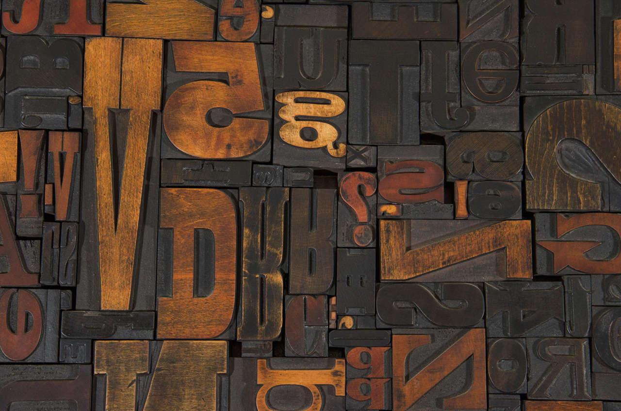 Mid-Century Modern Vintage Letterpress Printing Blocks Wall Sculpture For Sale