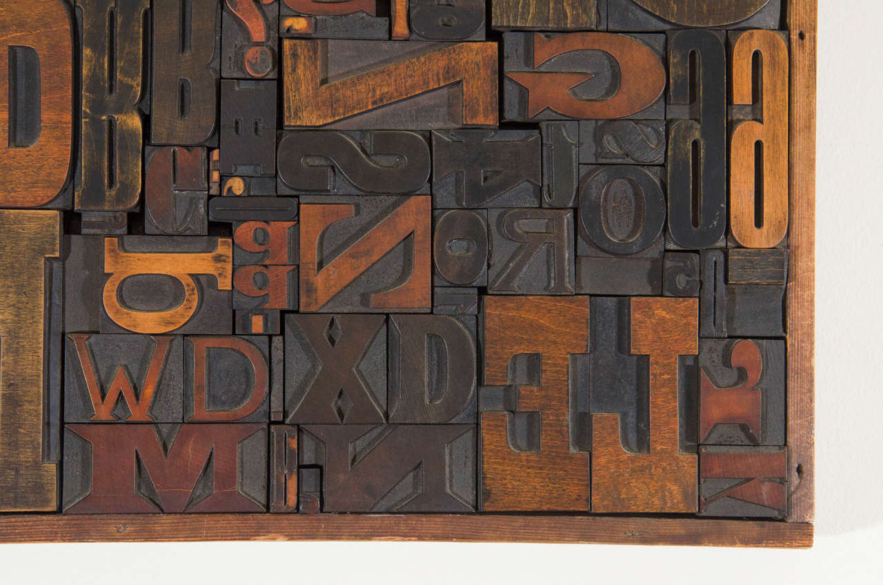 Vintage Letterpress Printing Blocks Wall Sculpture In Good Condition For Sale In New York, NY
