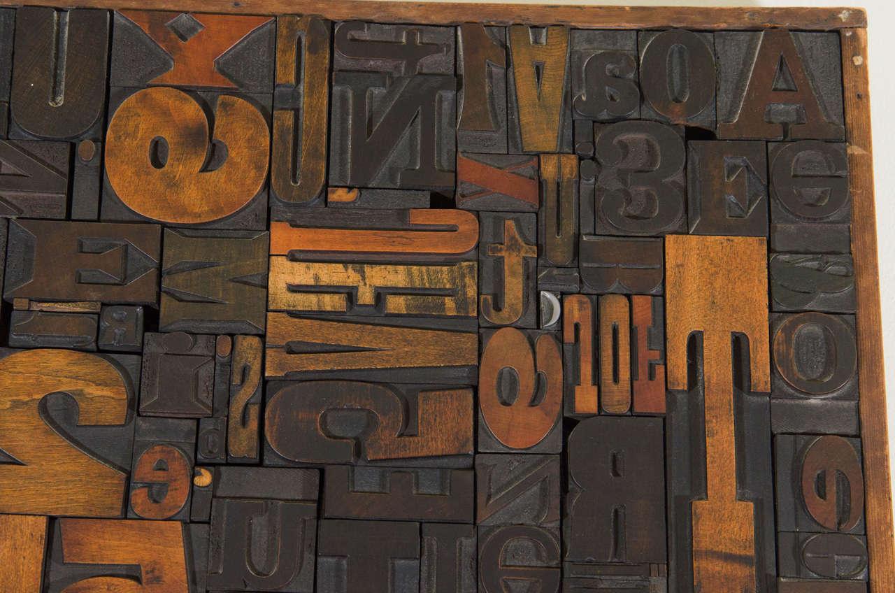 20th Century Vintage Letterpress Printing Blocks Wall Sculpture For Sale