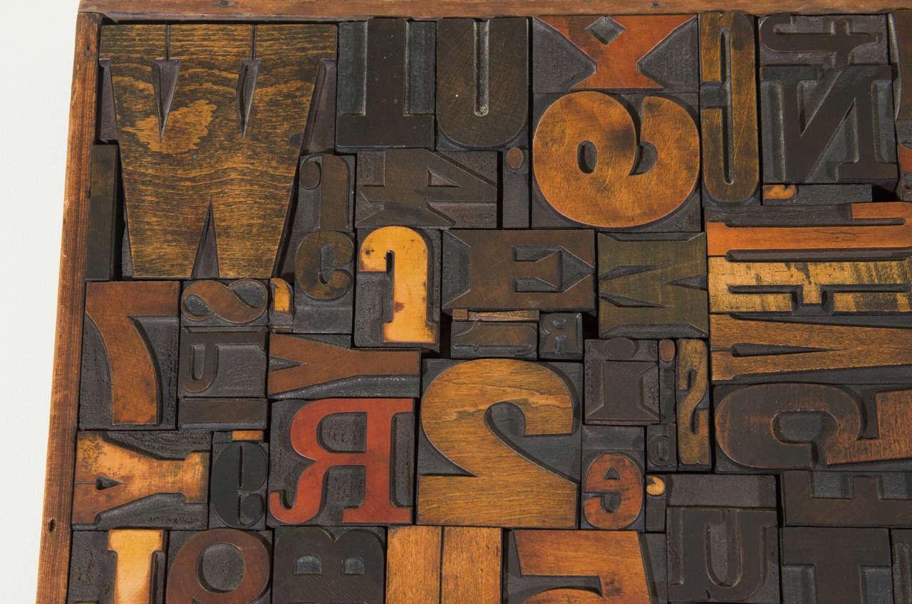Wood Vintage Letterpress Printing Blocks Wall Sculpture For Sale
