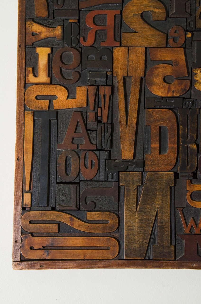 Vintage Letterpress Printing Blocks Wall Sculpture For Sale 1