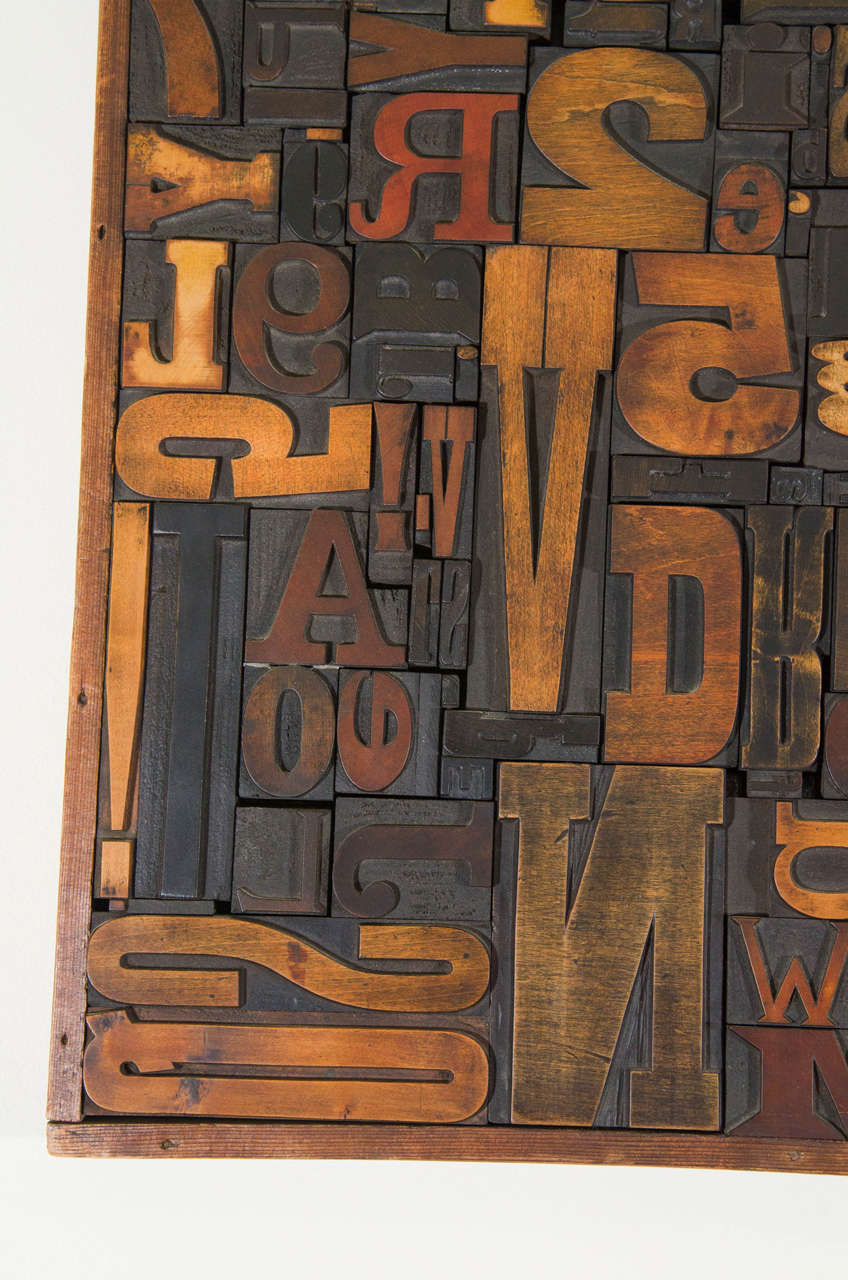 Vintage Letterpress Printing Blocks Wall Sculpture For Sale 2