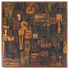 Vintage Letterpress Printing Blocks Wall Sculpture
