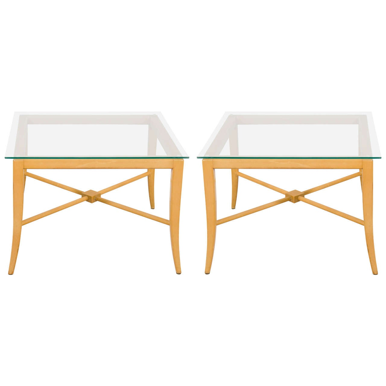 Pair of Tommi Parzinger End and Side Tables with X-Base Frame