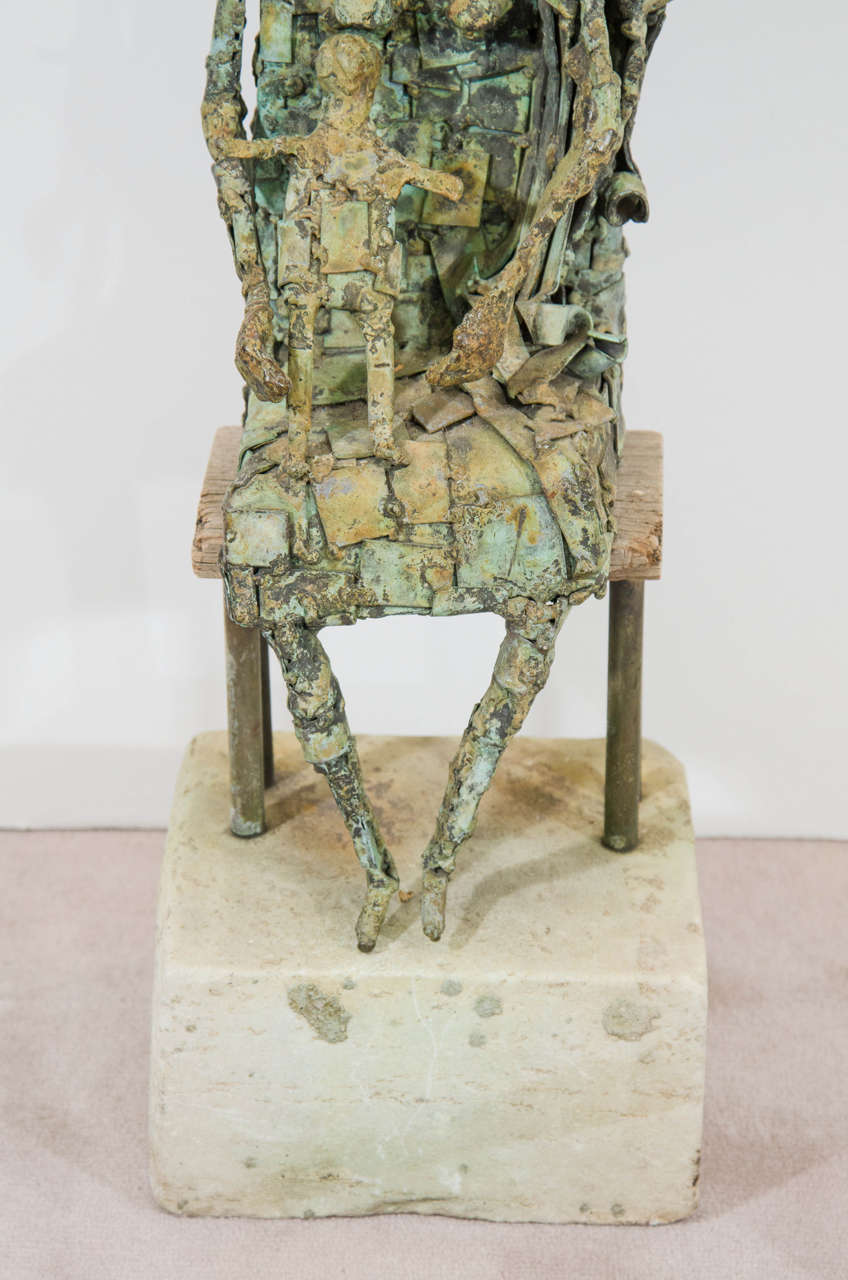 Brutalist Style Copper Sculpture of a Mother and Child In Good Condition For Sale In New York, NY