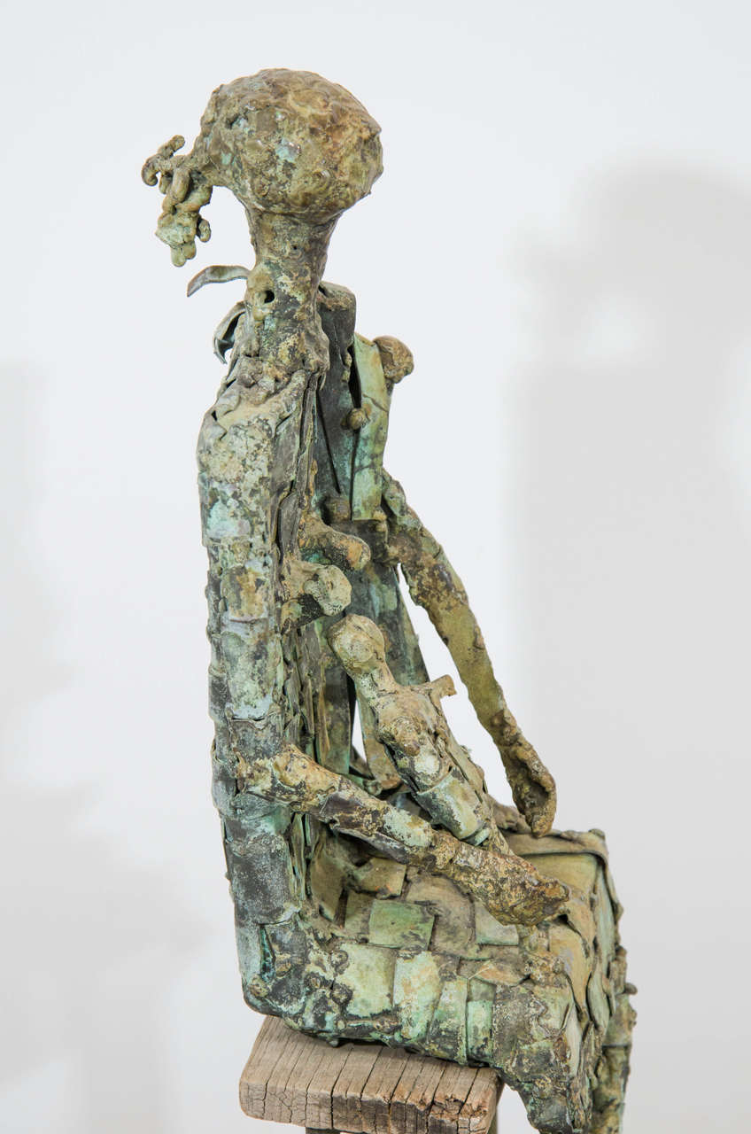 20th Century Brutalist Style Copper Sculpture of a Mother and Child For Sale
