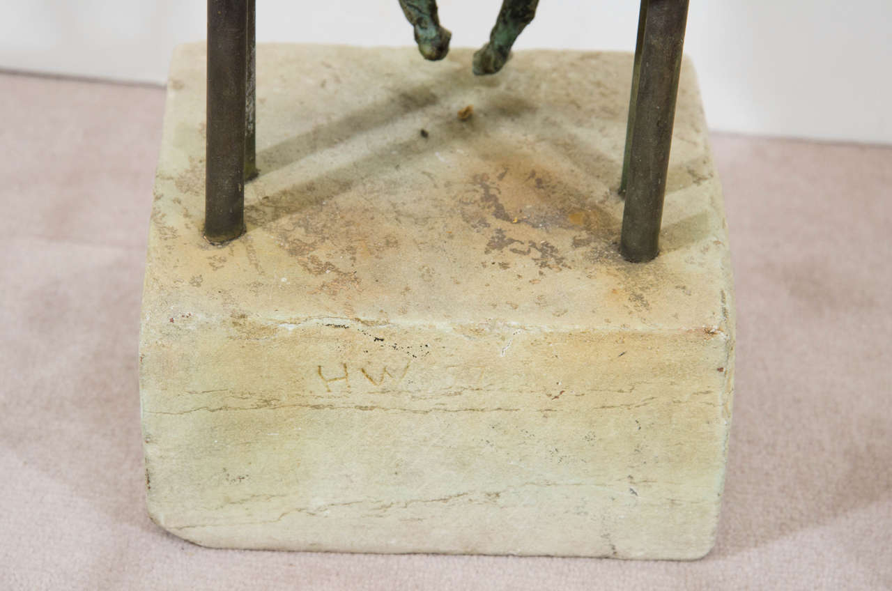 Brutalist Style Copper Sculpture of a Mother and Child For Sale 4