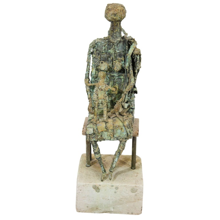Brutalist Style Copper Sculpture of a Mother and Child For Sale