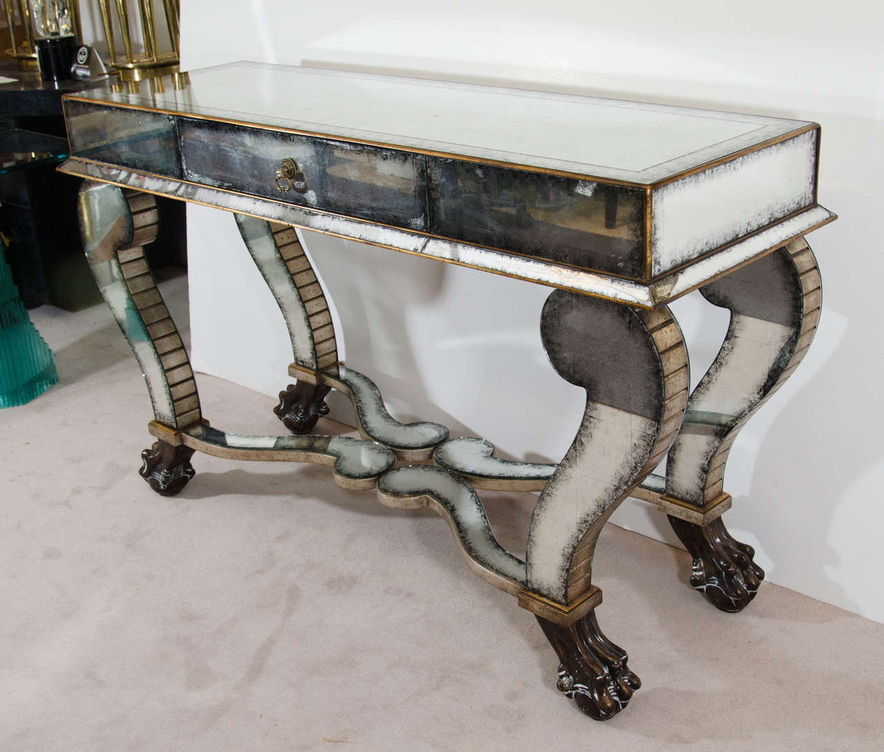 Antiqued Mirrored Console Table With Ball And Claw Feet At