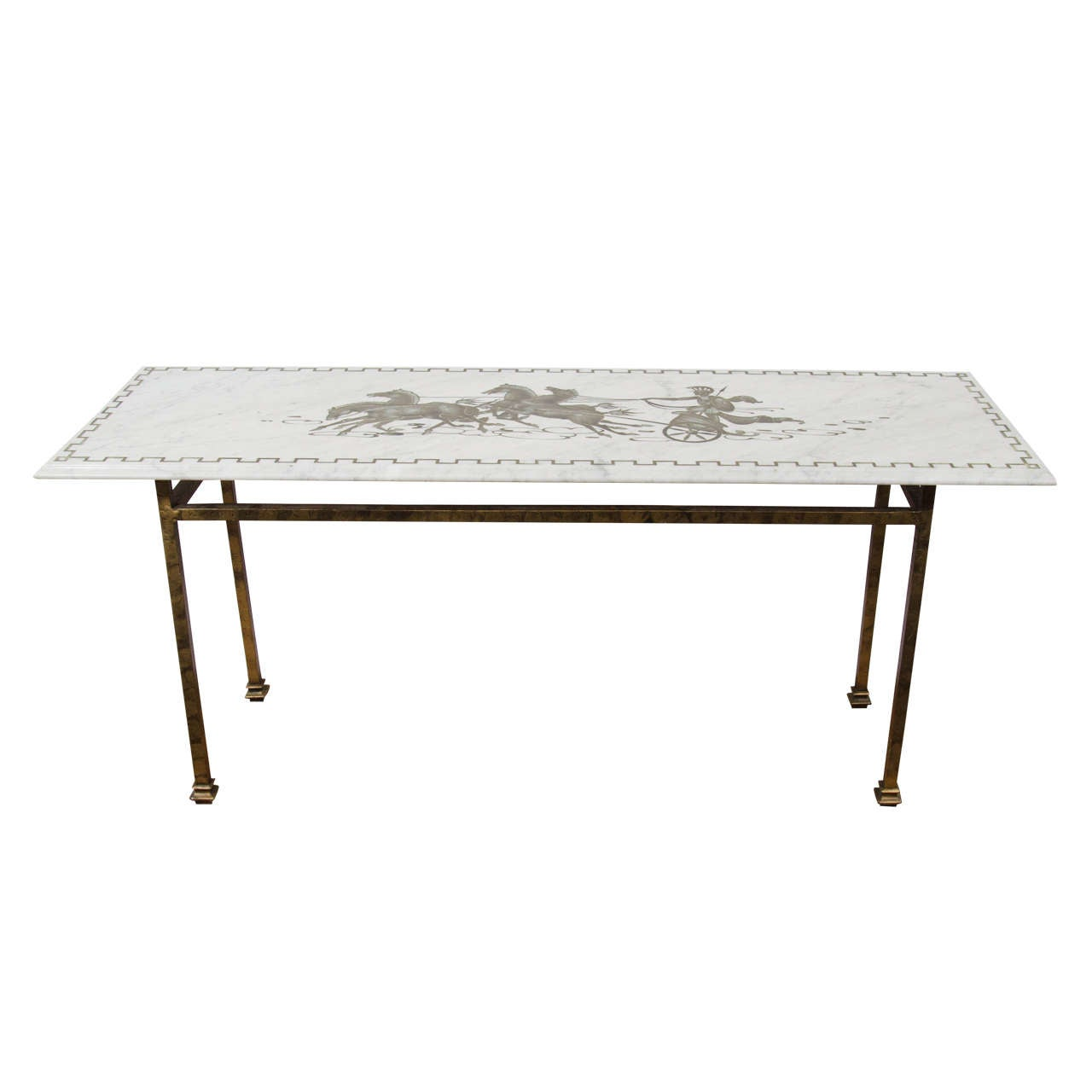 Midcentury Marble Top Console Table With Horse And Chariot