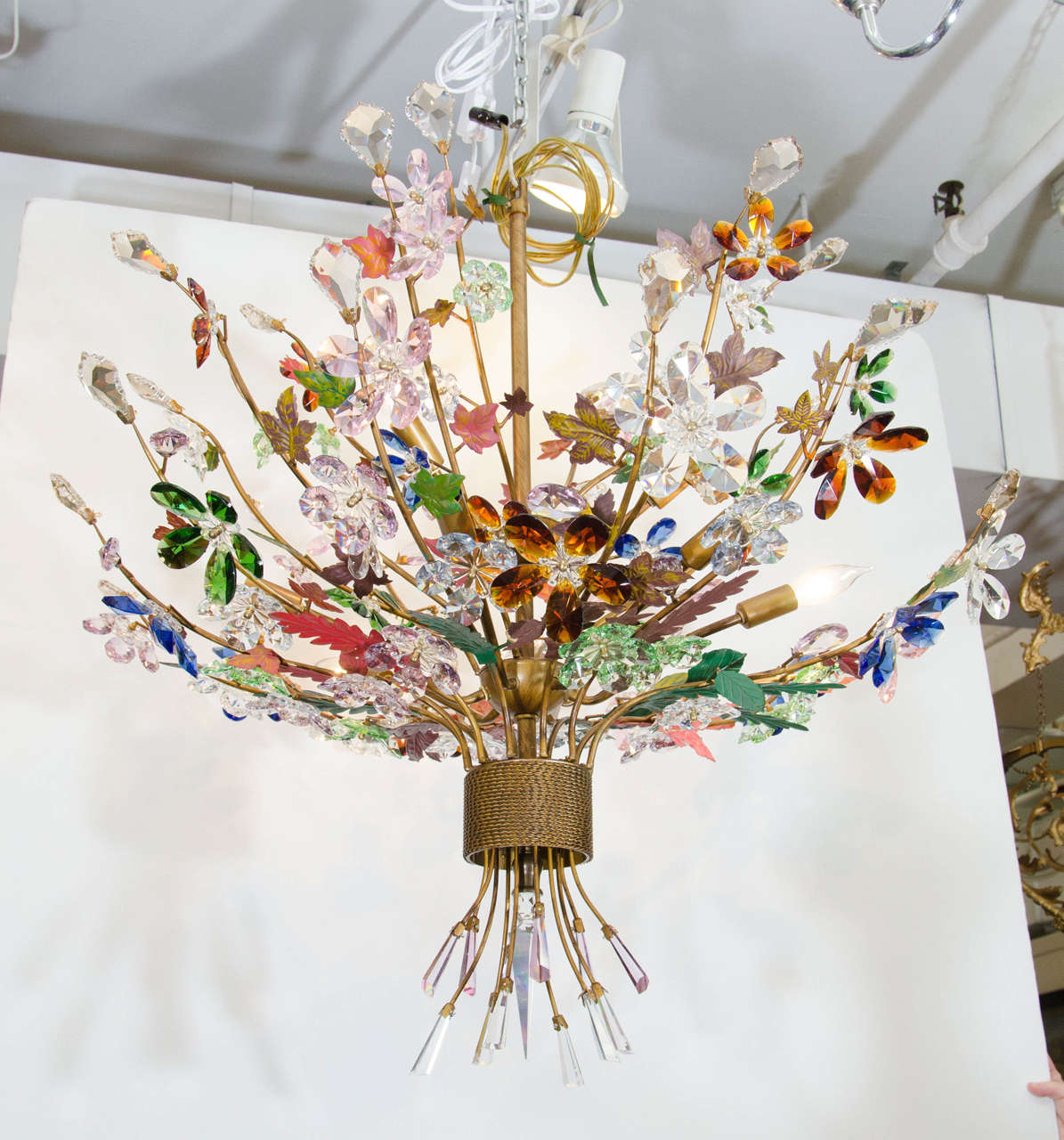 A Vintage Italian Murano Glass Chandelier In The Form Of Bouquet Flowers With Tole