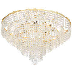 Very Large Mid-Century Gold Plated Austrian Crystal Chandelier For ...