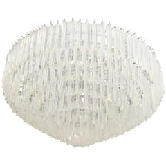 Midcentury Large Lucite Chandelier in a Cascading Circular Form