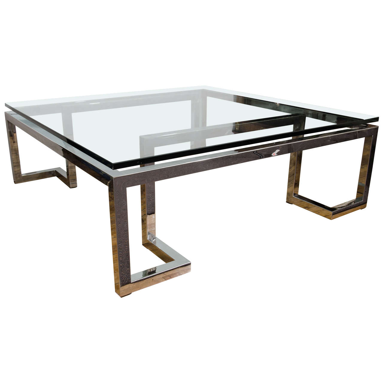 Midcentury glass top coffee or cocktail table with chrome geometric base at 1stdibs Glass coffee table base