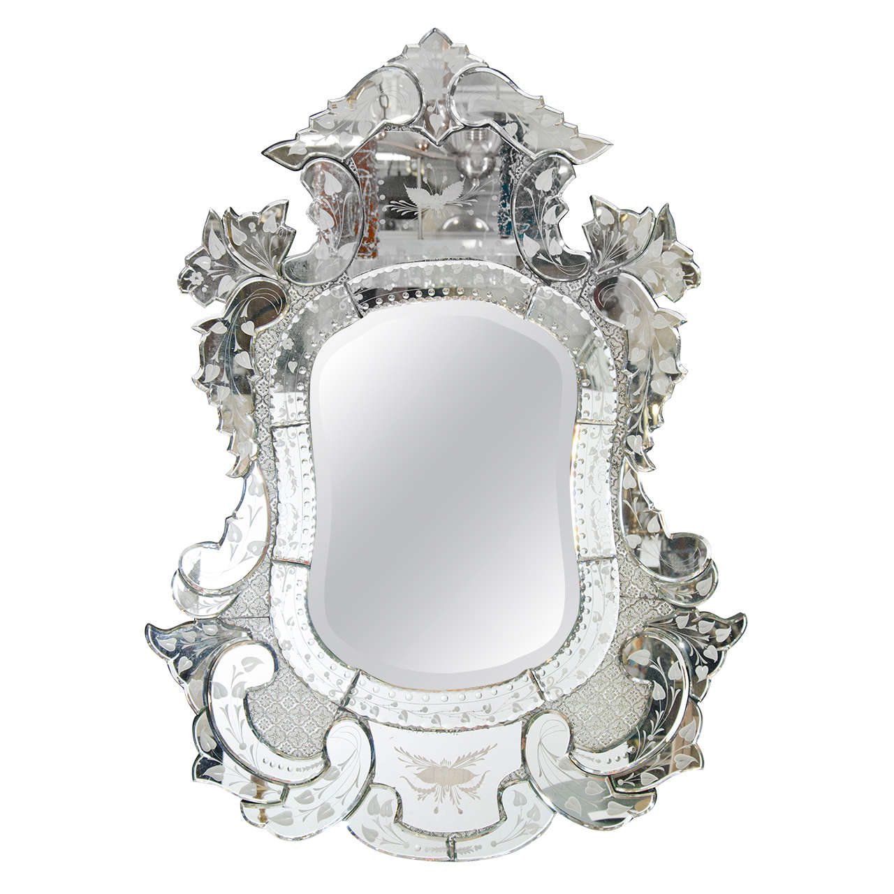 Vintage venetian ornately carved etched wall mirror at for Antique wall mirrors