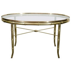 Midcentury Oval Brass and Glass Tea Table/Occasional Table by Mastercraft