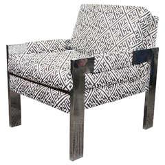 Midcentury Flat Bar Chrome Armchair