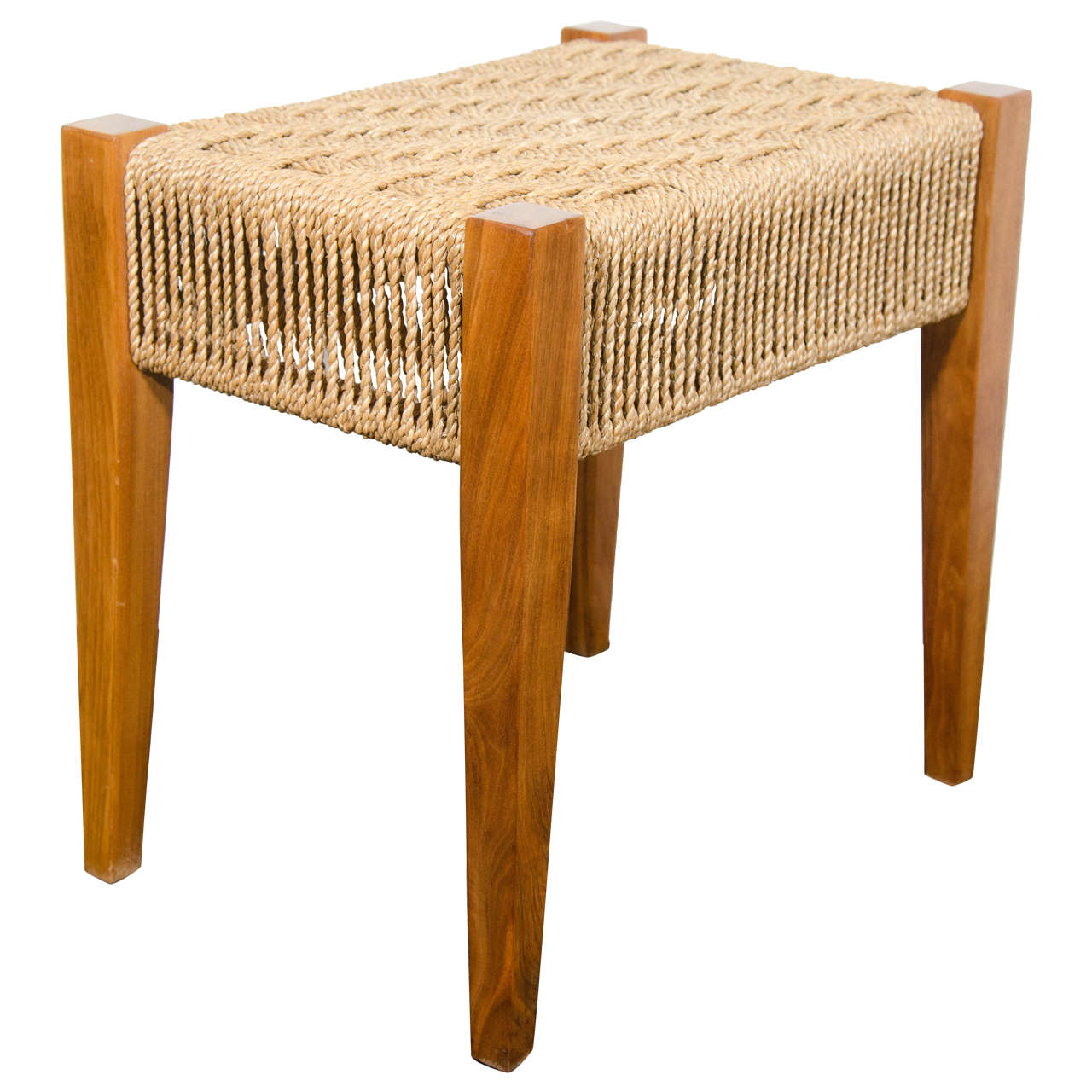 Midcentury Walnut Bench With Woven Rope Seat At 1stdibs