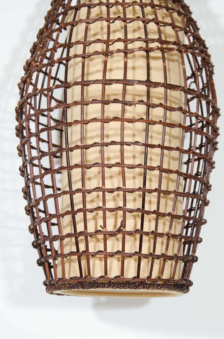 Mid-Century Modern Midcentury Basket Style Wicker Pendant or Lantern For Sale