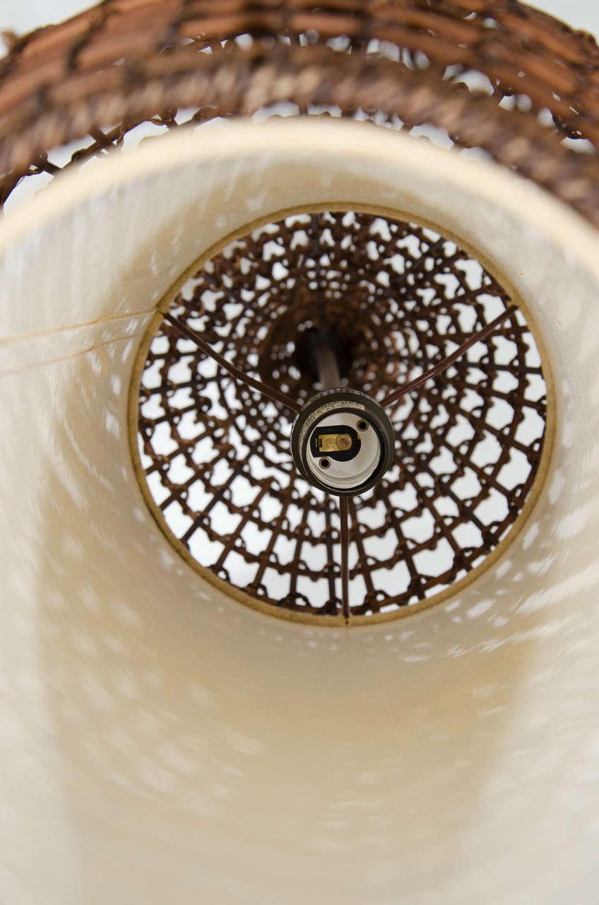 Midcentury Basket Style Wicker Pendant or Lantern For Sale 1