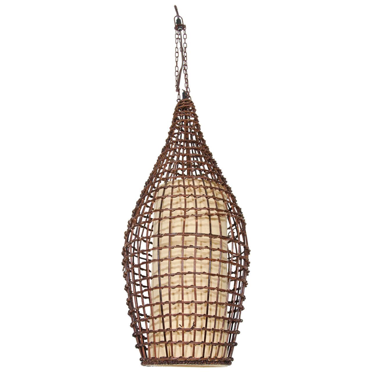Midcentury Basket Style Wicker Pendant Or Lantern At 1stdibs