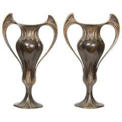 Art Nouveau Pair of French Bronze Vases by Auguste Delaherche