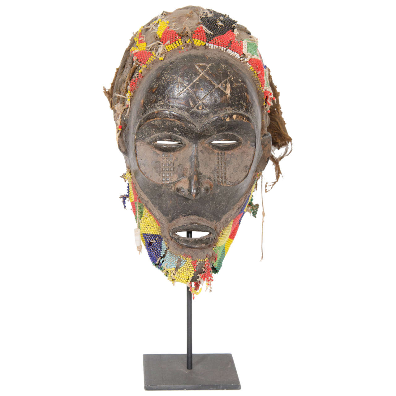 Beaded Wooden Mask in the Style of Chokwe Tribal Ritual