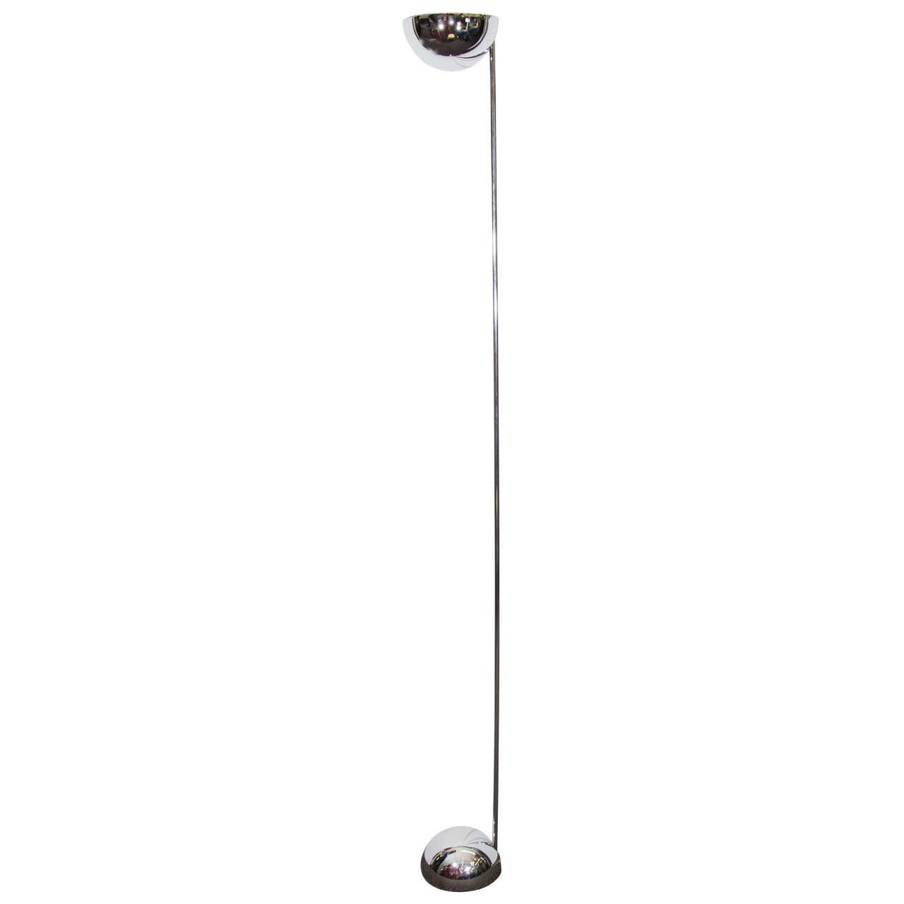A Midcentury Chrome Half Globe Floor Lamp