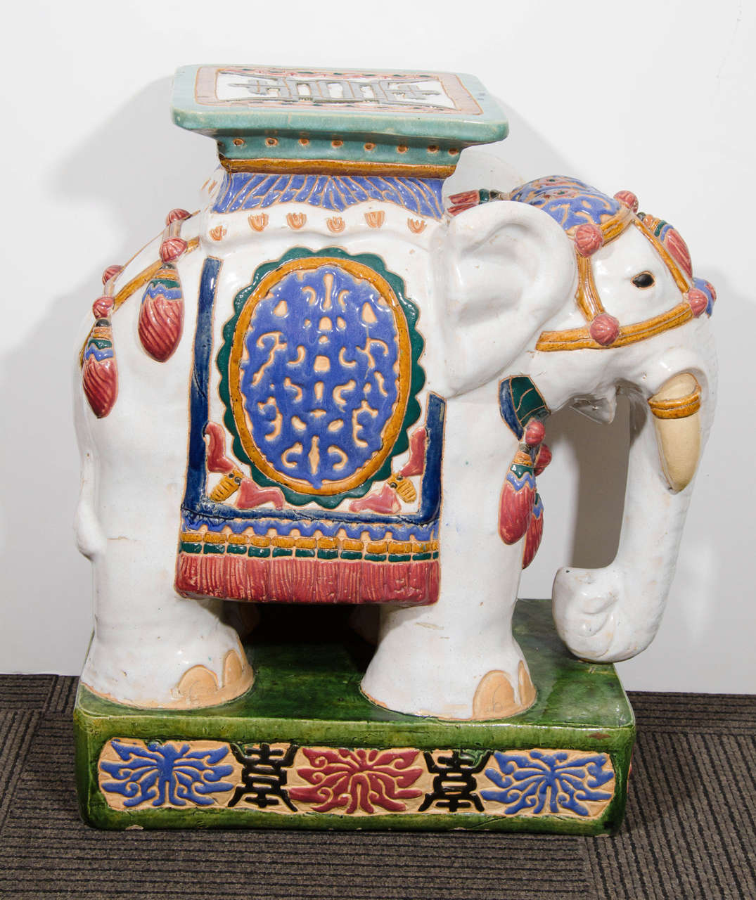 Midcentury Pair Of Colorful Asian Inspired Ceramic Elephant Garden Stools 2