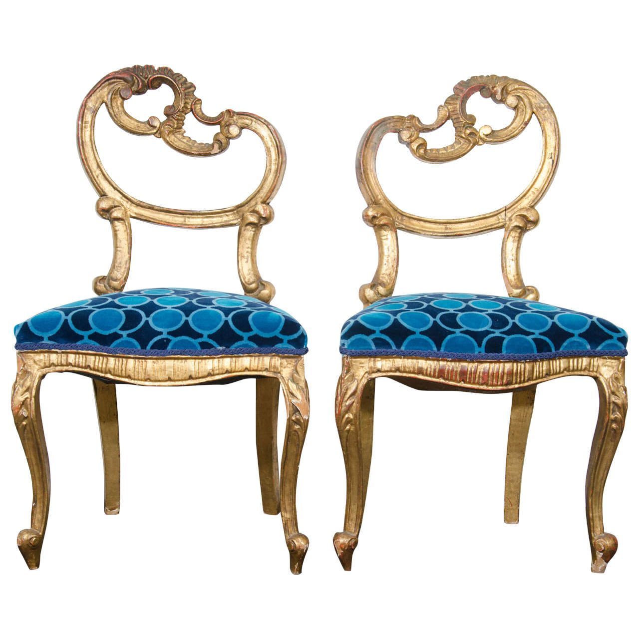Pair Of French Giltwood Louis Xv Style Side Chairs With Asymmetrical Backs For