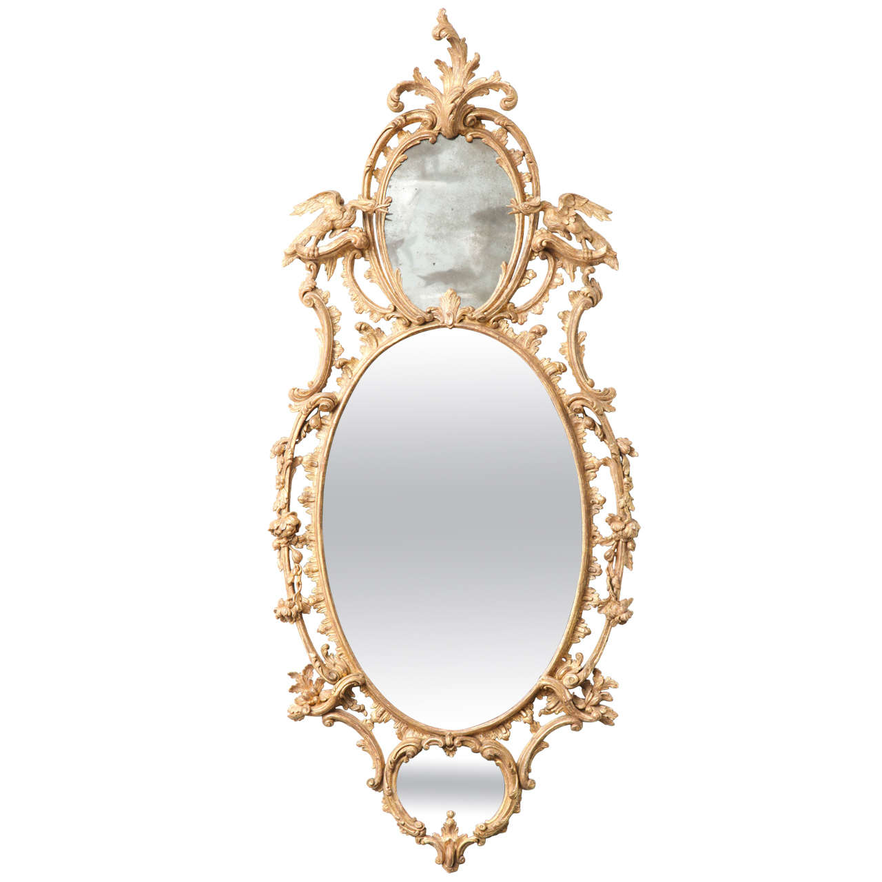 Very Fine George III Three-Plate Oval Mirror