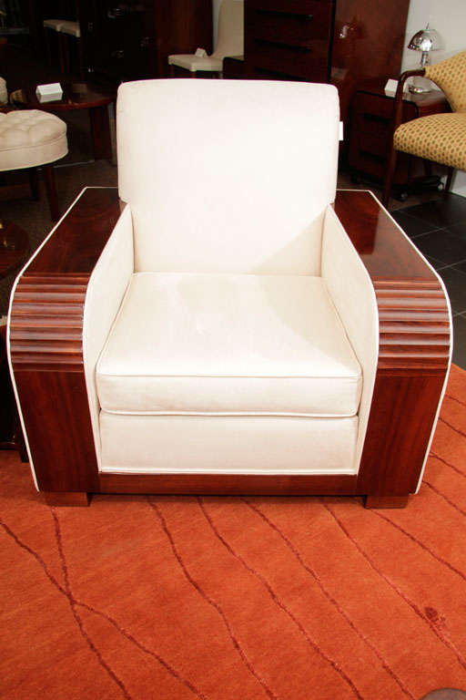 Deco Sofa and Side Chair with Suede Upholstery, 1930s 4