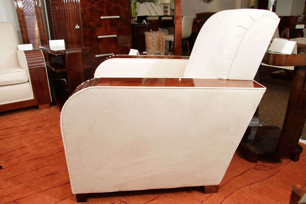 Deco Sofa and Side Chair with Suede Upholstery, 1930s 6