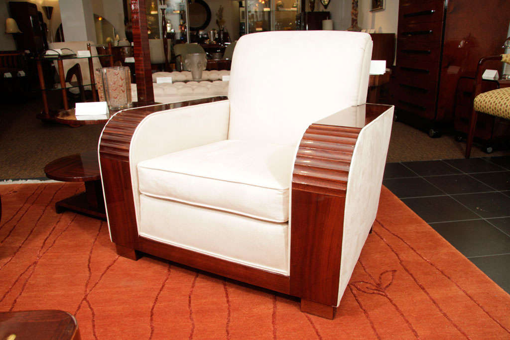 Deco Sofa and Side Chair with Suede Upholstery, 1930s 8