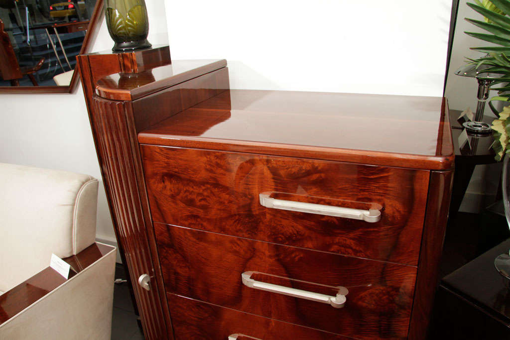 Burl High Chest of Drawers For Sale