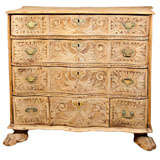 Swedish Carved Wood Chest of Drawers