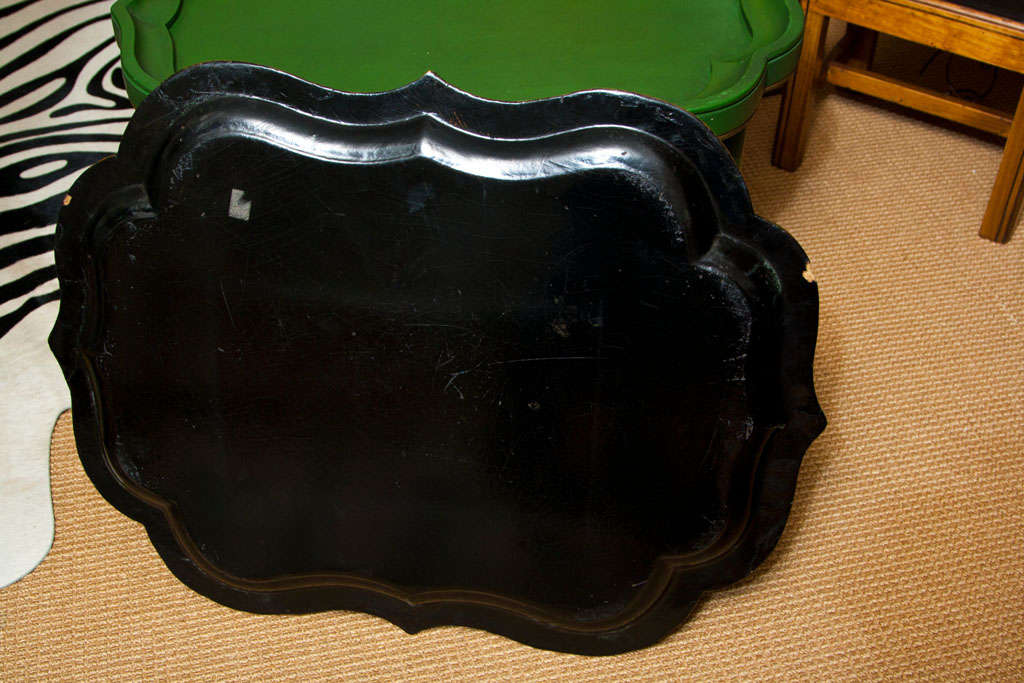 Victorian Papier Mâché Tea Tray on Stand For Sale 3
