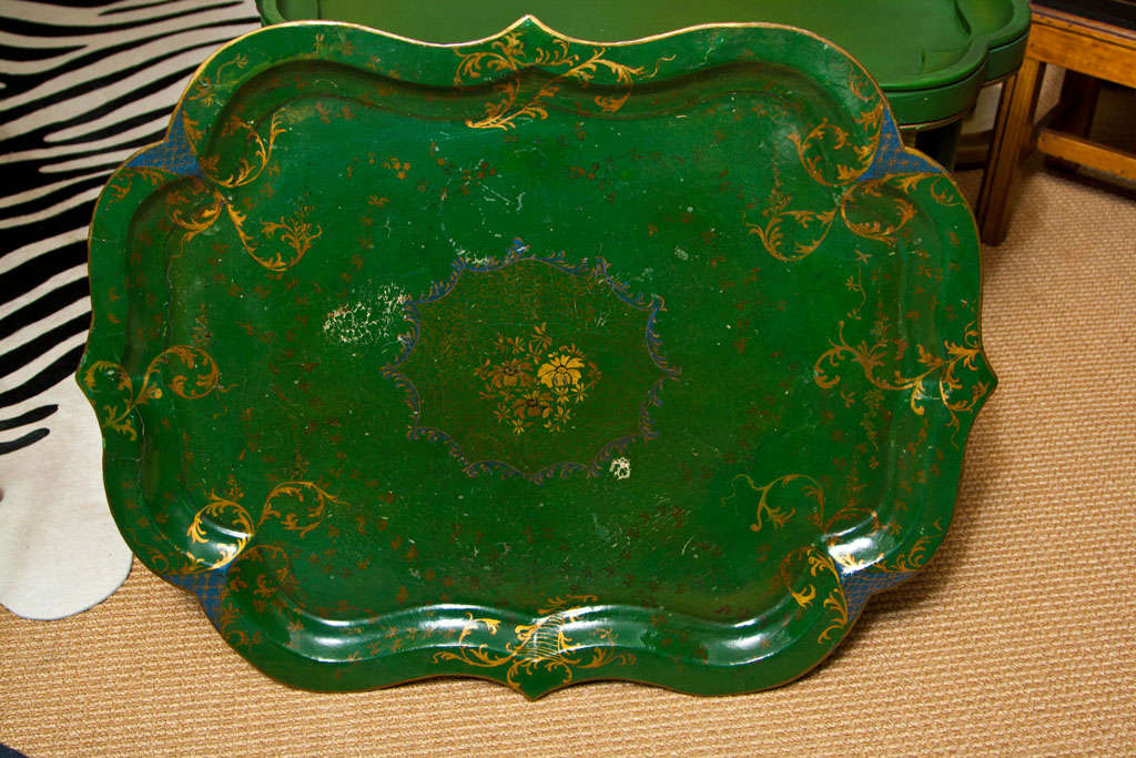 Victorian Papier Mâché Tea Tray on Stand For Sale 4