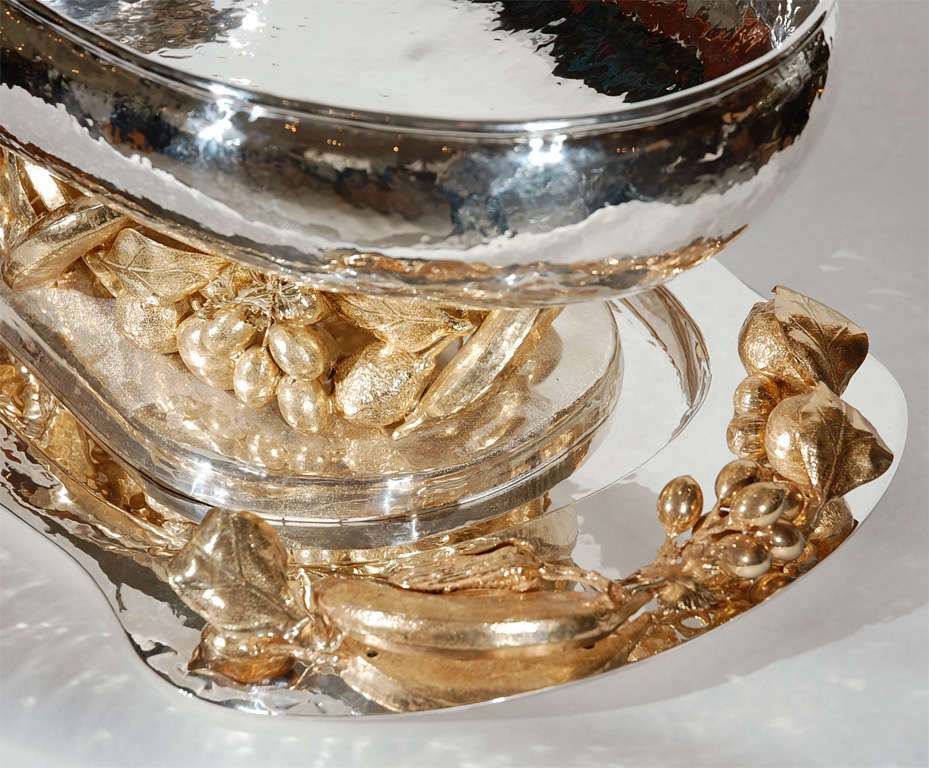 Large silver and gold plated centerpiece by franco lapini