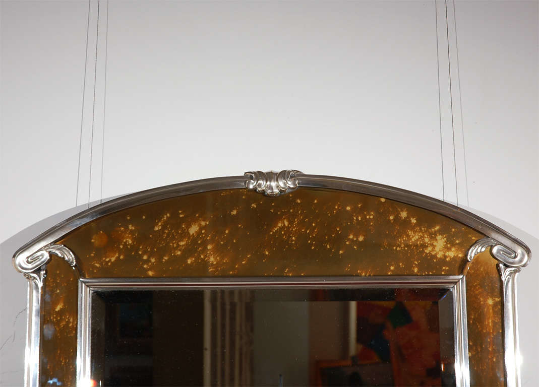 Bronze Wall Mirror: Art Deco Silver Plated Bronze And Tortoise Glass Wall